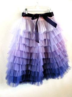 Hand Dyed Ombre Ruffled Tulle Skirt Carolina by ouma on Etsy