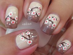 Nail Art - Neutral Sakuras - Decoracion de uñas