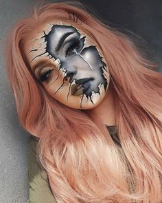 Black Mirror show makeup , Crazy Halloween Makeup, Halloween Makeup Looks, Halloween Makeup Tutorials, Halloween 2020, Halloween Party, Comic Makeup, Horror Makeup, Helloween Make Up, Broken Makeup