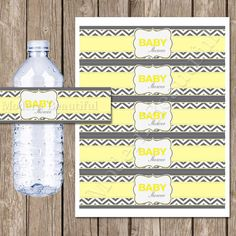 Yellow and grey chevron baby shower water bottle labels, chevron, neutral, yellow, grey, printable, digital file INSTANT DOWNLOAD