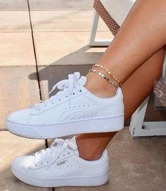 Coin Anklet / Dainty Gold Anklet / Dainty Silver Anklet / Gift Idea / Birthday Idea / Gold Silver Disc Anklet / Gold Chain Anklet – Design is art White Puma Sneakers, Sneakers Mode, Pink Sneakers, Sneakers Fashion, Fashion Shoes, White Platform Sneakers, Puma Platform, Fashion Men, Leather Sneakers