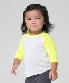 Look what I found on #zulily! White & Neon Yellow Raglan Tee - Infant by American Apparel #zulilyfinds