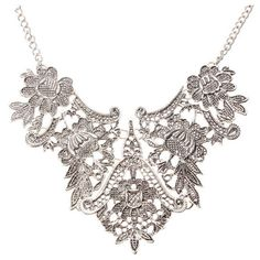 Silver Plated Flower Statement Choker Necklace ($5.00) ❤ liked on Polyvore featuring jewelry, necklaces, chain necklace, silver plated jewelry, chain choker, statement necklaces and flower necklace