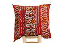 "Vintage Berber Kilim Pillow Cushion Lumbar, Handmade in Morocco, 19""x19"" CV46"