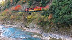 京都府 嵯峨野観光鉄道 ディーゼル機関車に引かれるノスタルジックな木製車両で、古都の四季折々の渓谷美を巡る観光列車。5号車には窓ガラスを取り外したオープン車両も接続されている。