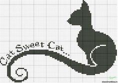 Черный кот - Вышивка кошек - Вышивка