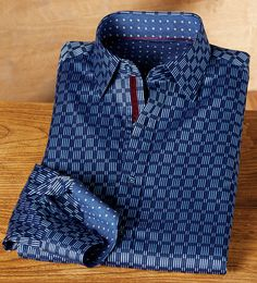 Bugatchi Uomo Navy Geometric Shirt