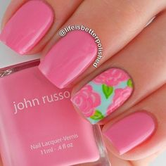 Pretty Nail Art Design Summer ought to be contemporary and fun. Intense and daring colors square measure noticeably well-liked within the summer season. Rose Nail Art, Rose Nails, Flower Nail Art, New Nail Art, Pink Nails, Art Flowers, Pointed Nails, Sparkle Nails, Pretty Nail Art