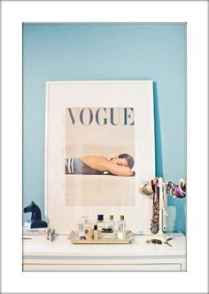 Ooh! This is a good idea: frame old Vogue covers for a vintage style decoration.
