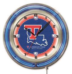 Louisiana La Tech Logo Neon Wall Clock