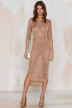 Gold Knit Dress #NastyGal