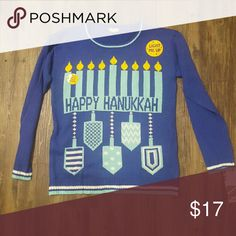 Happy Hanukkah UGLY Christmas Sweater New Ugly (Christmas)Sweater   Happy Hanukkah Sweater  -Materials: 60% Cotton/40% Acrylic -Crew Neck -Long Sleeve - LED Lights Built Into Fabric Eyeshadow Sweaters