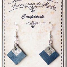 Boucles d'oreille géométriques cuir bleu