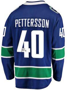 00d381073 Elias Pettersson Vancouver Canucks Autographed Blue Fanatics Breakaway  Jersey