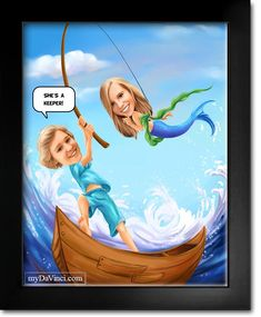 What a Catch Fishing Couple Romance Caricature from Photos Caricature From Photo, Couple Romance, Romantic Couples, Cotton Canvas, Fishing, Anniversary, Meme, Lol, Collections