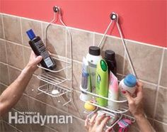 Easy Shelving Ideas: Tips for Home Organization              Hang shower shelves from cabinet knobs i got from Frugal Freebies post ingenious idea!