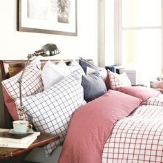 Newport bedding in fresh Hamptons style colors. Newport products available from our shop. Scandinavian Fabric, Scandinavian Bedroom, Scandinavian Interior Design, Red Bedding, Bedding Shop, Linen Bedding, Bed Linen, Chambray, Hotel Collection Bedding