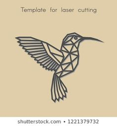 Template animal for laser cutting. Abstract geometric hummingbird for cut. Stencil for decorative panel of wood, metal, paper. Geometric Drawing, Geometric Art, Laser Cut Wood, Laser Cutting, Cut Animals, Paper Lace, Decorative Panels, Stock Foto, Diy Wall Art