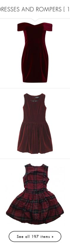 """""""DRESSES AND ROMPERS [ 1 ]"""" by etoilesdanse ❤ liked on Polyvore featuring dresses, vestidos, short dresses, red, off the shoulder mini dress, red dress, long-sleeve velvet dress, short red cocktail dress, red velvet dresses and clothes - dresses"""