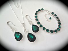 Emerald jewelry set  Bridal jewelry  3 piece  by QueenMeJewelryLLC