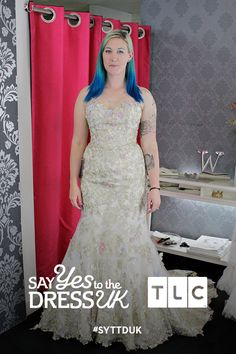 Ditch the trend. A gold applique dress with stitched on pastel coloured flowers will stand out among the other white gowns. Say Yes To the Dress UK on TLC! #SYTTDUK #SYTTDUK