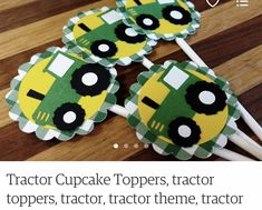 Tractor Cupcakes, Tractor Birthday, Cupcake Toppers, Christmas Ornaments, Holiday Decor, Home Decor, Christmas Ornament, Interior Design, Home Interior Design