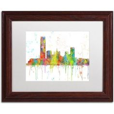 Trademark Fine Art Oklahoma City Oklahoma Skyline Canvas Art by Marlene Watson, White Matte, Wood Frame, Size: 16 x 20, Brown