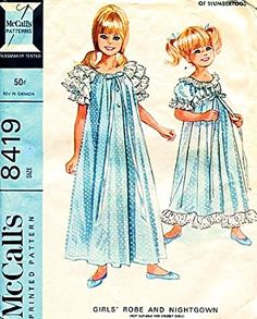Amazon.com: McCalls 8419 Girls' Frilly Robe and Nightgown Lingerie Sewing Pattern, Vintage 1966: Arts, Crafts & Sewing