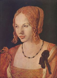 Albrecht Dürer, Portrait of a Young Venetian (Porträt einer jungen Venezianerin), 1505. Oil on panel, 32.5 x 24.2 cm - Kunsthistorisches Museum, Wien / Vienna.