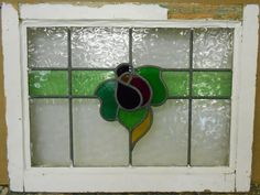 """OLD ENGLISH LEADED STAINED GLASS WINDOW TRANSOM Floral Band design 25.5""""x17.25"""""""