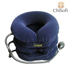 Best Neck Traction (ChiSoft®) #1 Doctors Recommended - IMPROVED Cervical Traction Device, Bigger Pump, Extended Velcro, Premium Quality ChiSoft