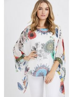 Nicole Silk Floral Batwing Top In White Batwing Top, Bat Wings, Floral Tops, Silk, Clothes For Women, Lady, Fitness, Casual, Inspiration