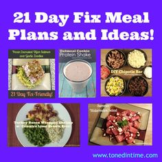 21 Day Fix Meal Plans & Ideas! Breakfast, Lunch, Dinner, Snacks & even Shakeology Recipes! #21dayfix #tonedintime