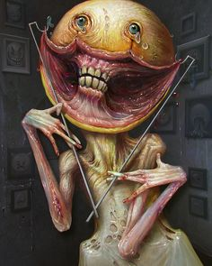 """Smile"" by Kumpan Alexandr aka kumpan @ deviantart Creepy Clown, Creepy Art, Scary, Arte Horror, Horror Art, Scream, Science Fiction, Art Zine, Dark Artwork"