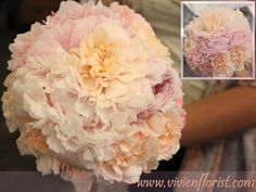 Wedding bouquet with peonies and carnations – Montreal West Island Wedding and Event Florist Wedding Flower Arrangements, Wedding Bouquets, Floral Arrangements, Wedding Flowers, Pastel Bouquet, Island Weddings, Carnations, Peonies, Wedding Brooch Bouquets