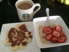 Tea with milk, banana with melted PB&J, cream of wheat with strawberries. SO. FULL. LOL!