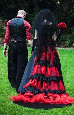 Halloween wedding dress, Black and red dresses, Spooky Halloween wedding ideas www.loveitsomuch.com