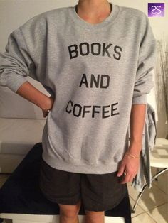 Books and coffee sweatshirt jumper cool fashion by stupidstyle
