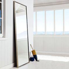 "$265 Metal Framed Floor Mirror | west elm - 30""w x 1.75""d x 72""h"