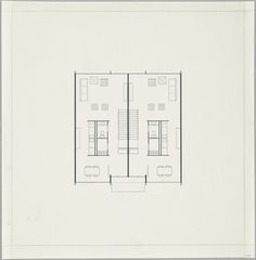 Ludwig Mies van der Rohe Pavilion Apartments and Town Houses, Lafayette Park, Detroit, MI, Plan (Two-story town house. First-floor plan. Architecture Drawings, Architecture Plan, Architecture Details, Ludwig Mies Van Der Rohe, Pavilion Apartments, Architect Drawing, Lafayette Park, Building Plans, House Floor Plans