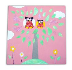 Pink Two Owls Canvas £14.99