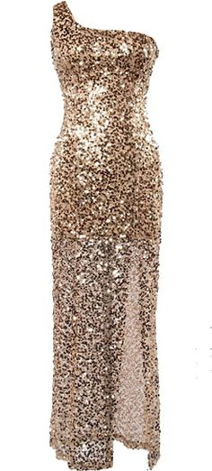 Golden Globe Dress: Features a super sophisticated one-shoulder design, glittering gold sequin foundation, invisible side zip closure, and elegant floor-grazing fabric to finish.