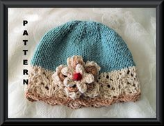 Knitting Pattern for Baby Hat-Children Clothing-Lace Cloche-Hand Knitted BABY HAT PATTERN in Teal and Ivory - The Real Teal 2