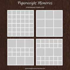 4 20x20 Storyboard/Collage Templates by Paperweight Memories on Creative Market