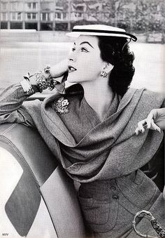 vogue, 1952 (love the over-done accessories & her waistline...what the what?!)