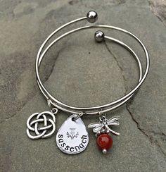 Sassenach Bangle Bracelet with Dragonfly and Amber Bead/Celtic Knot #bangle #bone-of-my-bone-celtic-coin-pendant #bracelet