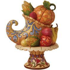 Jim Shore Heartwood Creek Thanksgiving Harvest Cornucopia on Pedestal New NIB | eBay