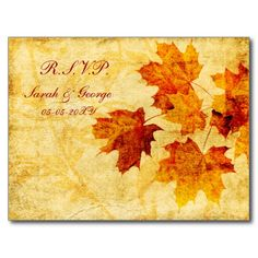 fall autumn brown winter Wedding rsvp card Postcard
