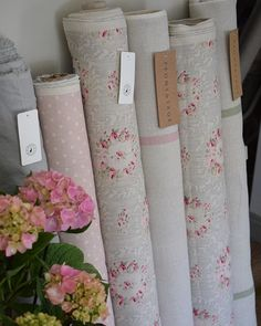 Peony and Sage ( Shabby Chic Boutique, Shabby Chic Kitchen, Linens And Lace, Roman Blinds, Sewing Projects For Beginners, Pretty In Pink, Peonies, Fabric Design, Sage