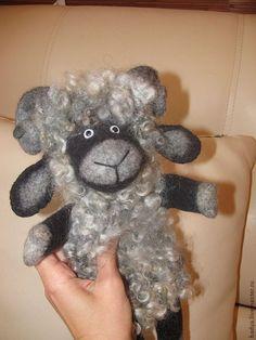 Купить Перчаточная кукла - Барашек Бяша - серый, барашек, баран, кукла, перчаточная кукла